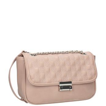 Crossbody kabelka s prešitím na klope bata, ružová, 961-9826 - 13