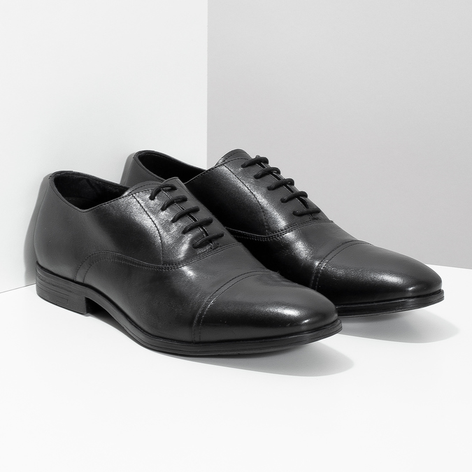 Čierne kožené Oxford poltopánky bata, čierna, 824-6944 - 26