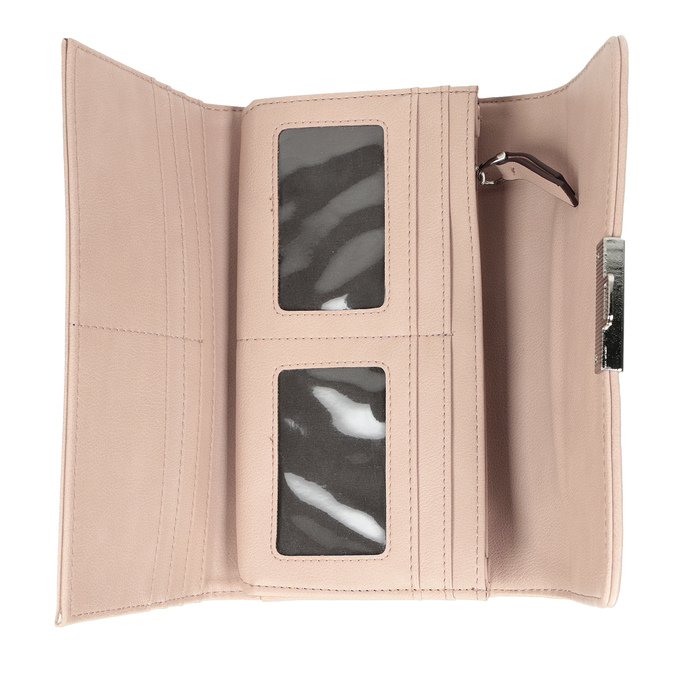 Ružová dámska peňaženka s prešitím bata, 941-9169 - 15