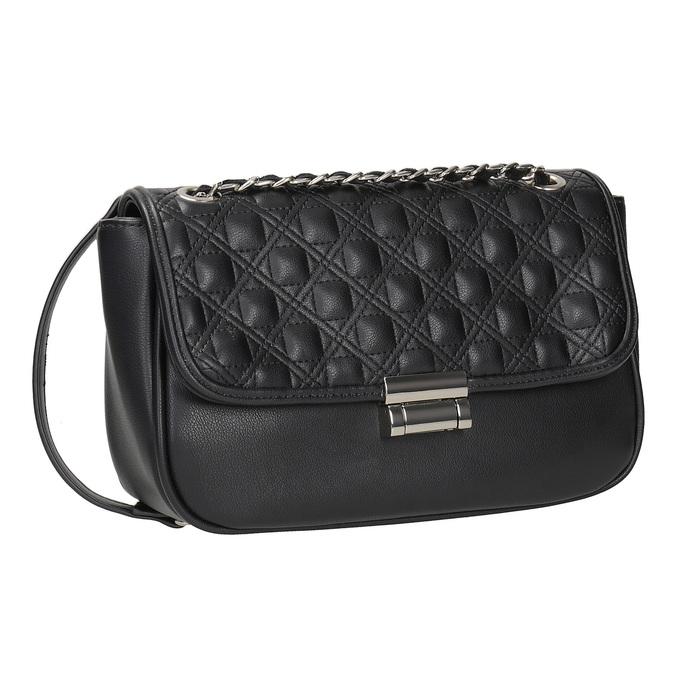 Crossbody kabelka s prešitím bata, čierna, 961-6826 - 13