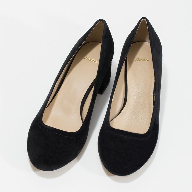 Kožené lodičky na stabilnom podpätku bata, čierna, 623-6644 - 16