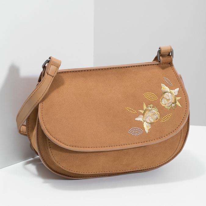 Crossbody kabelka s výšivkou bata, hnedá, 969-4686 - 17