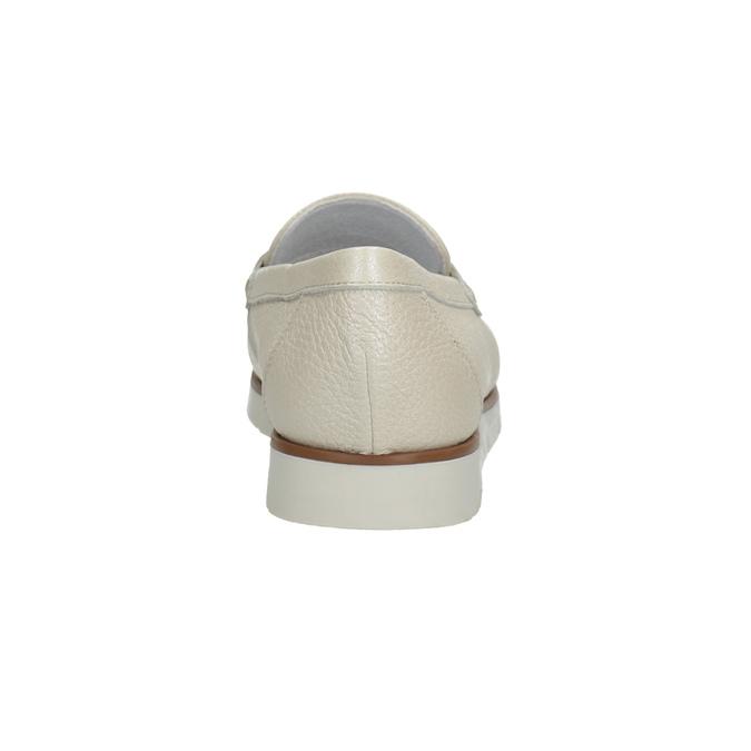 Dámske kožené mokasíny na výraznej podrážke flexible, béžová, 536-1605 - 15