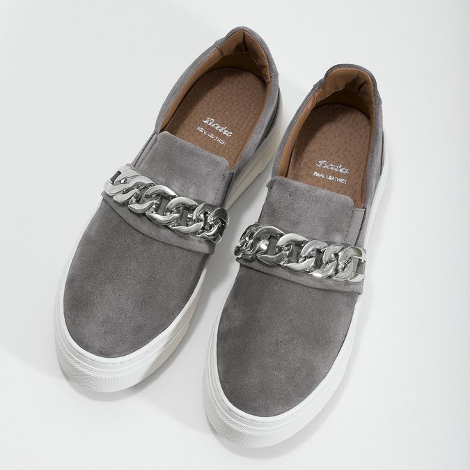 Dámske Slip-on s kovovou prackou bata, šedá, 513-2600 - 16