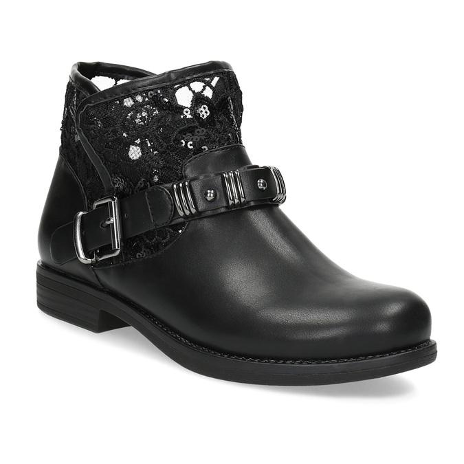 Čierne čižmy s čipkou bata, čierna, 591-6628 - 13