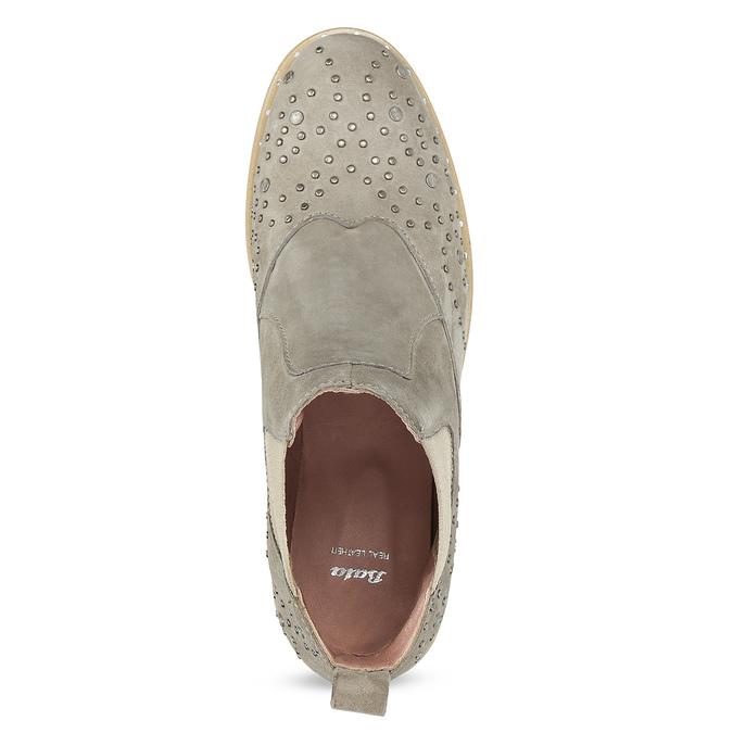 Kožené členkové topánky s kovovou aplikáciou bata, šedá, 596-2690 - 17