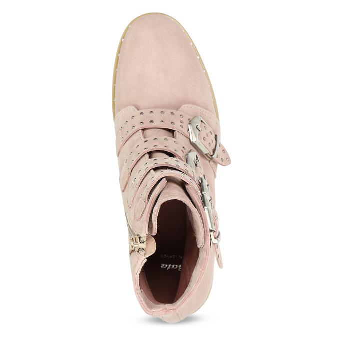 Kožené čižmy s prackami bata, ružová, 596-5691 - 17