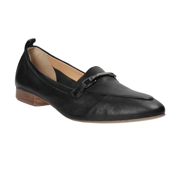 Kožené dámske mokasíny s prackou bata, čierna, 516-6619 - 13