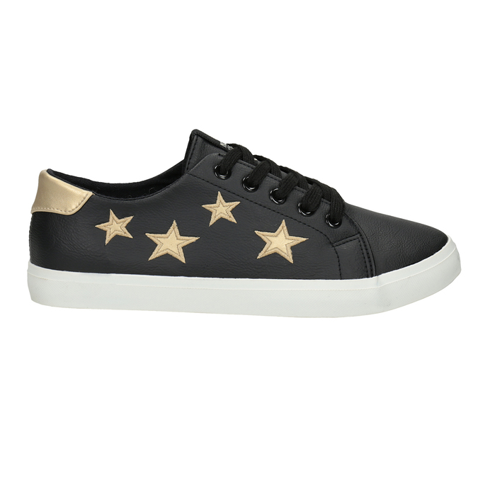 Dámske tenisky s hviezdičkami north-star, čierna, 541-6601 - 16