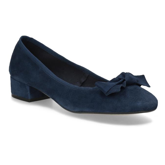 Modré baleríny z brúsenej kože bata, modrá, 523-9420 - 13
