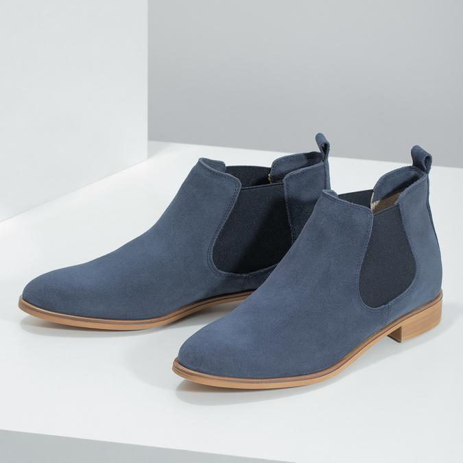 Modré kožené Chelsea čižmy bata, modrá, 593-9614 - 16