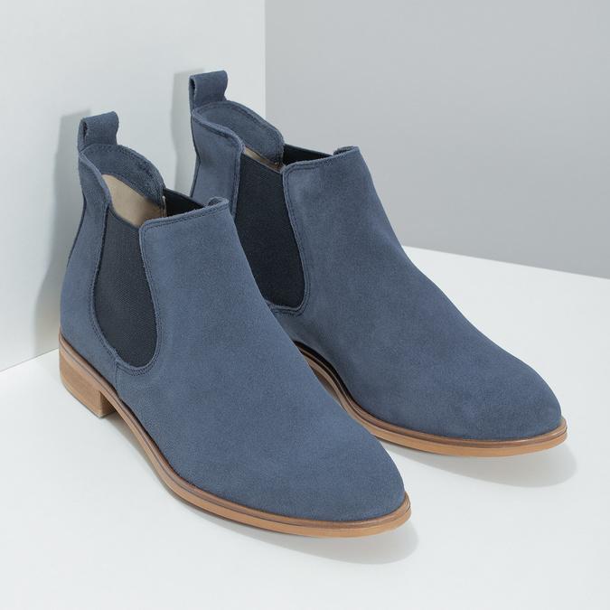 Modré kožené Chelsea čižmy bata, modrá, 593-9614 - 26