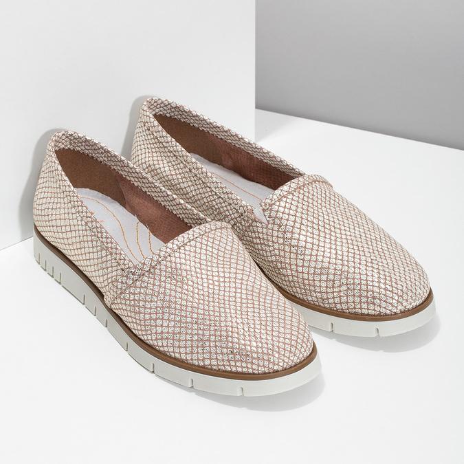 Dámske kožené Slip-on topánky na výraznej podrážke flexible, 536-5603 - 26