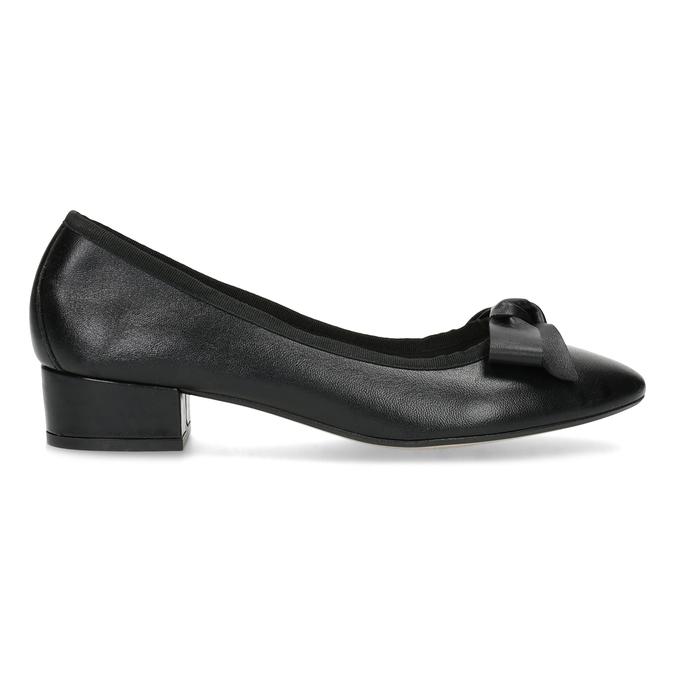 Čierne kožené baleríny s mašľou bata, čierna, 524-6420 - 19