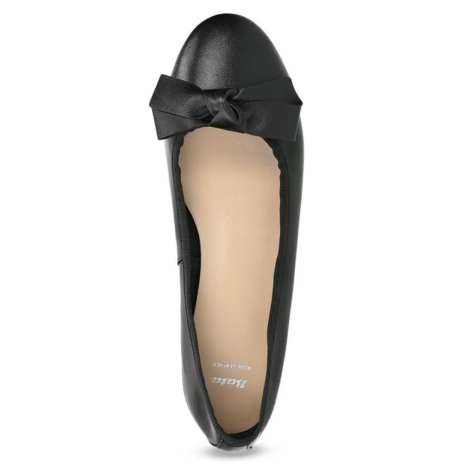 Čierne kožené baleríny s mašľou bata, čierna, 524-6420 - 17