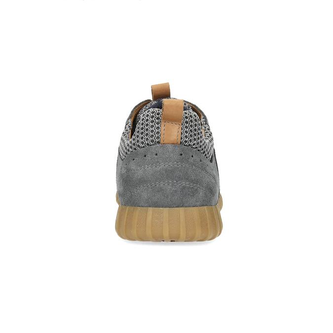 Šedé pánske tenisky z brúsenej kože bata, šedá, 843-2634 - 15