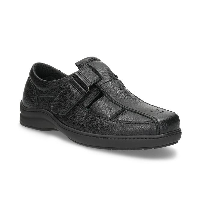 Pánske sandále z kože pinosos, čierna, 864-6626 - 13