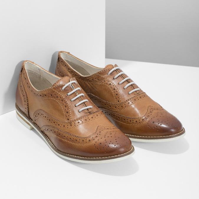 Hnedé dámske kožené poltopánky bata, hnedá, 526-3649 - 26