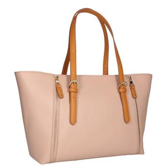 Biela kabelka s hnedými rúčkami bata, ružová, 961-5840 - 13