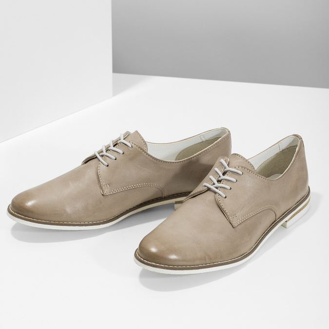 Kožené dámske poltopánky bata, béžová, 526-8650 - 16