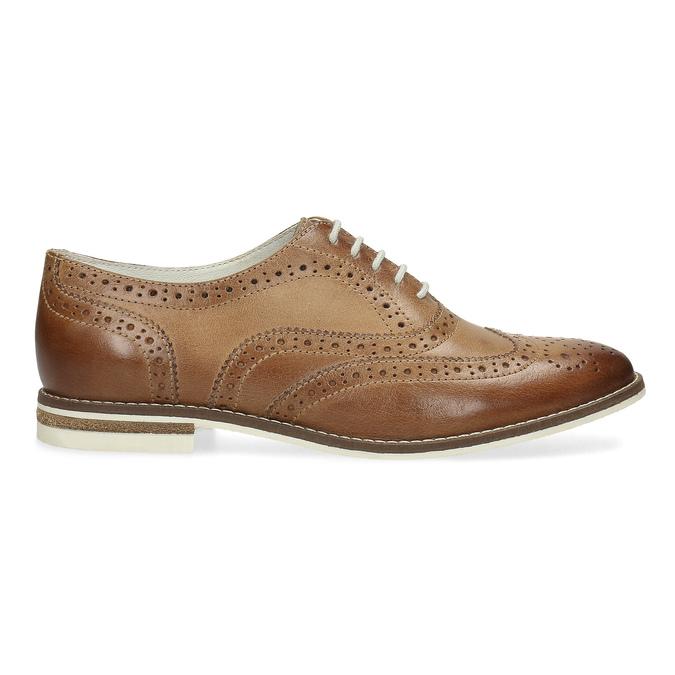 Hnedé dámske kožené poltopánky bata, hnedá, 526-3649 - 19
