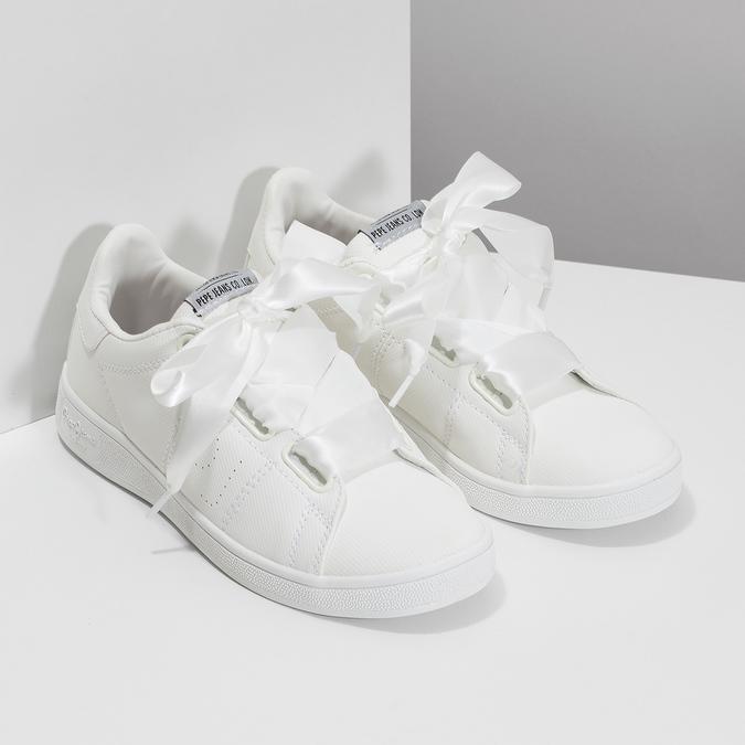 Biele tenisky so saténovou mašľou pepe-jeans, biela, 541-1076 - 26