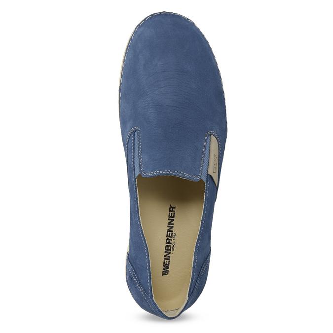 Dámske modré kožené Slip-on weinbrenner, modrá, 536-9606 - 17
