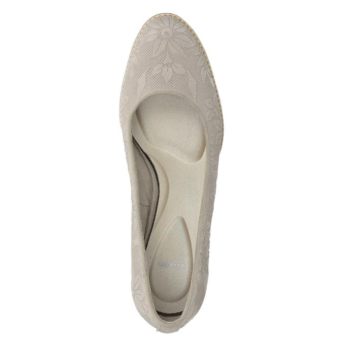 Dámske kožené lodičky s reliéfom pillow-padding, šedá, 726-2650 - 15
