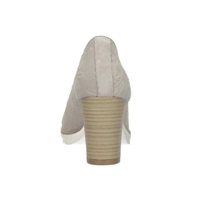 Dámske kožené lodičky s reliéfom pillow-padding, šedá, 726-2650 - 16