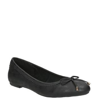 Čierne dámske baleríny s mašličkou bata, čierna, 521-6611 - 13