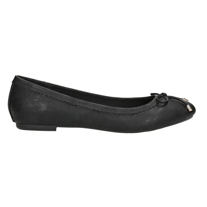 Čierne dámske baleríny s mašličkou bata, čierna, 521-6611 - 16