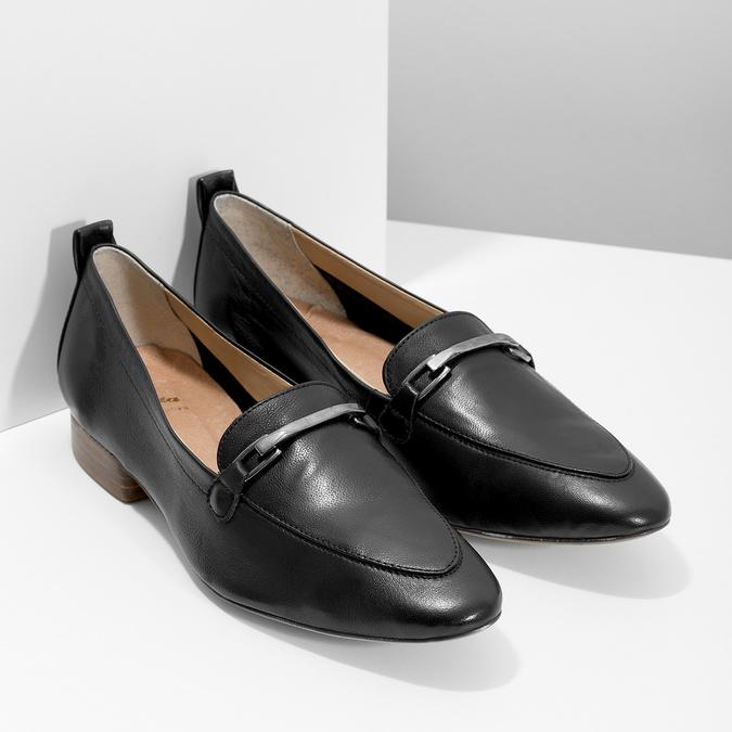 Kožené dámske mokasíny s prackou bata, čierna, 516-6619 - 26