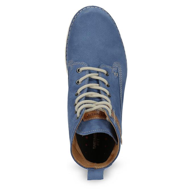 Dámska kožená členková obuv weinbrenner, modrá, 594-9666 - 17