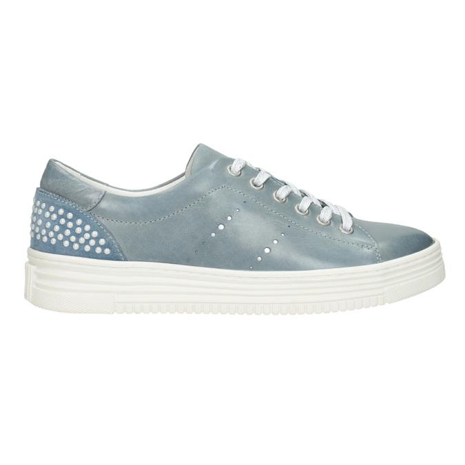 Dámske kožené tenisky s perličkami bata, modrá, 546-9606 - 26