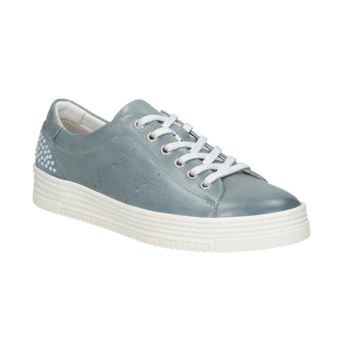 Dámske kožené tenisky s perličkami bata, modrá, 546-9606 - 13