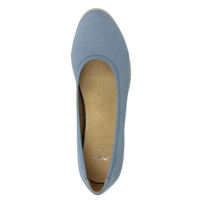 Dámske modré lodičky na kline bata, modrá, 629-9636 - 17
