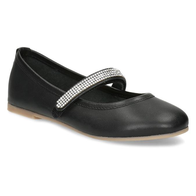 Čierne dievčenské kožené baleríny so štrasovým remienkom mini-b, čierna, 326-6601 - 13