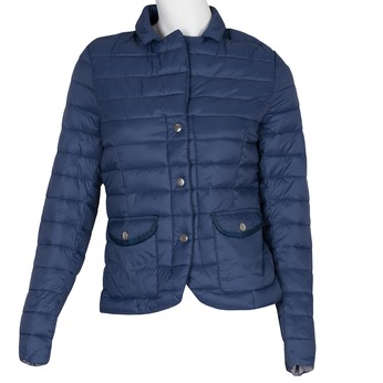 Modrá prešívaná bunda s golierom bata, modrá, 979-9182 - 13