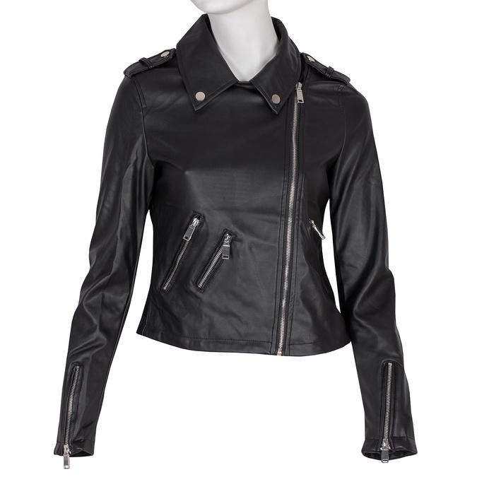 Koženková bunda s golierom a zipsami bata, čierna, 971-6198 - 13