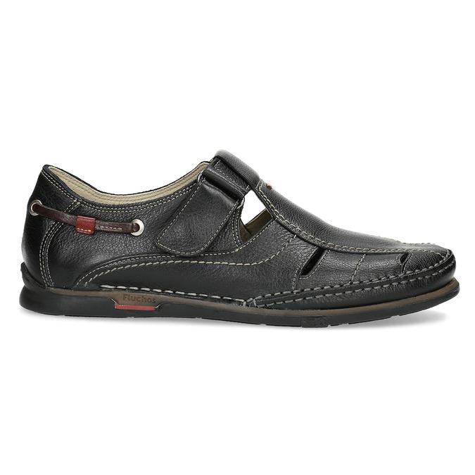 Kožené sandále s prešívaním fluchos, čierna, 864-6605 - 19