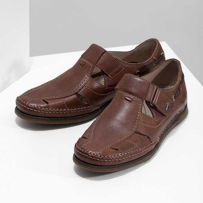 Kožené sandále na suchý zips fluchos, hnedá, 864-4605 - 16