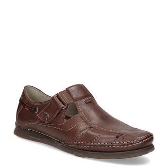 Kožené sandále na suchý zips fluchos, hnedá, 864-4605 - 13
