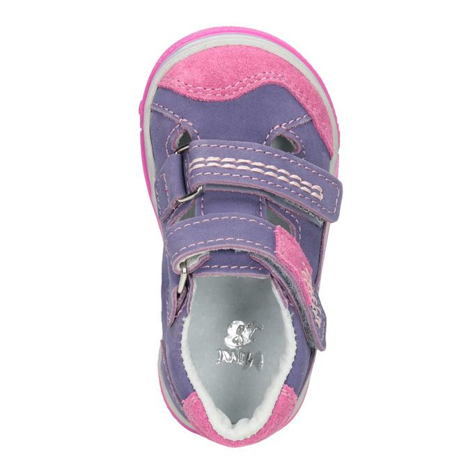 Detské kožené topánky na suchý zips bubblegummers, fialová, 126-9601 - 15