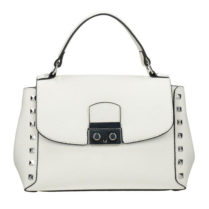 Biela kabelka s rúčkou a cvočkami bata, biela, 961-1279 - 26