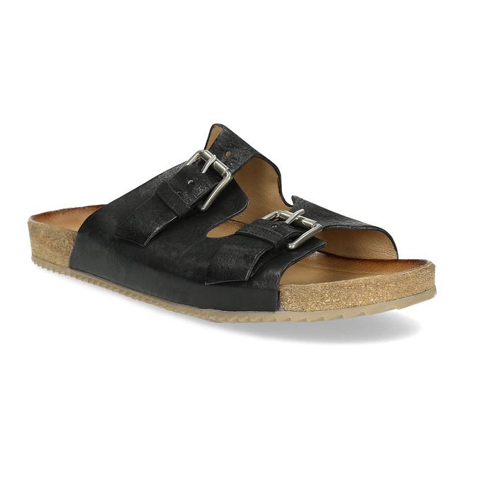 Pánske kožené nazuváky bata, čierna, 866-6648 - 13