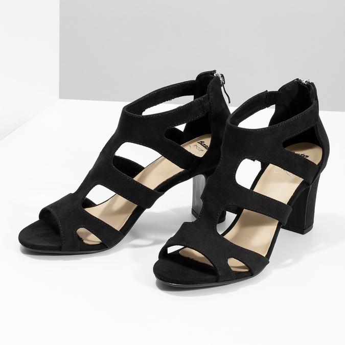 Čierne sandále na stabilnom podpätku insolia, čierna, 769-6617 - 16