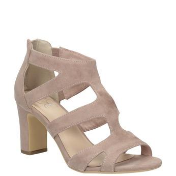 Ružové sandále na stabilnom podpätku insolia, ružová, 769-5617 - 13