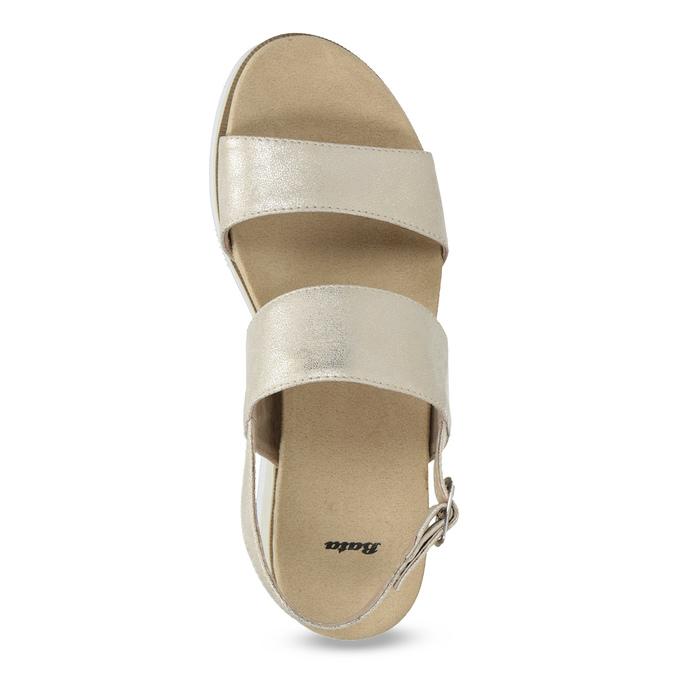 Béžové metalické sandále na flatforme bata, zlatá, 761-8632 - 17