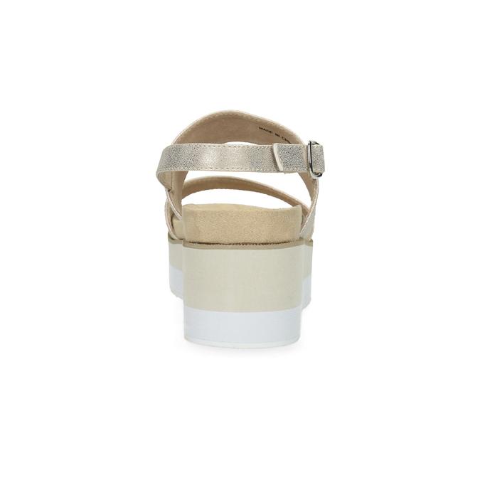Béžové metalické sandále na flatforme bata, zlatá, 761-8632 - 15