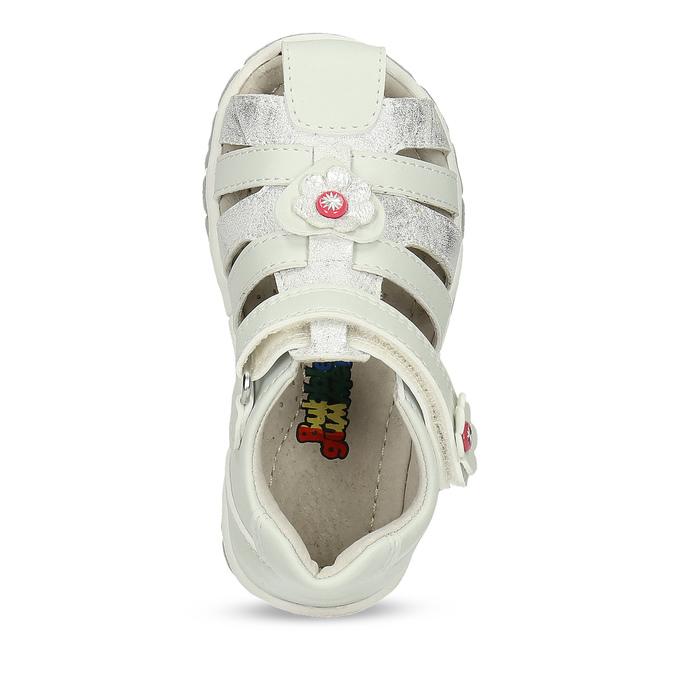 Členkové detské sandále s kvetinovou ozdobou bubblegummers, biela, strieborná, 161-1607 - 17